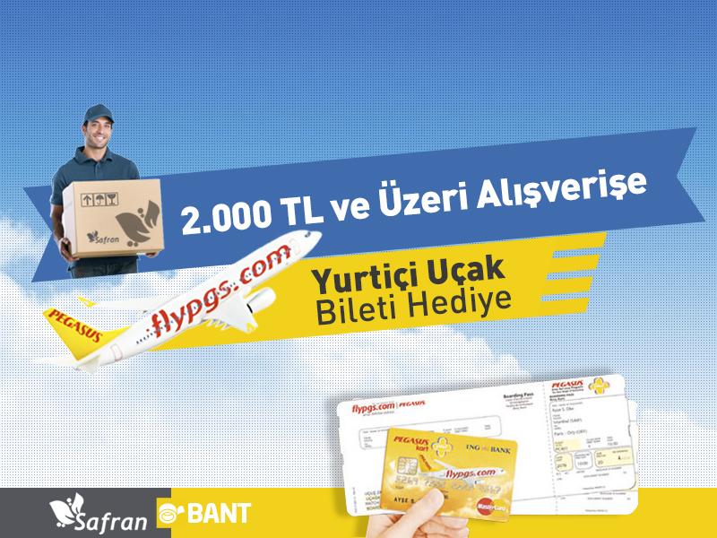 2000TL ve Üzeri Alışverişe Yurtiçi Uçak Bileti Hediye (PGS ile)